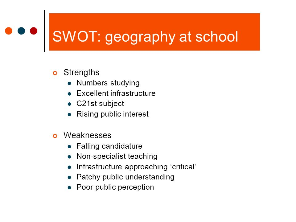 SWOT: geography at school Strengths Numbers studying Excellent infrastructure C21st subject Rising public interest Weaknesses Falling candidature Non-specialist teaching Infrastructure approaching critical Patchy public understanding Poor public perception