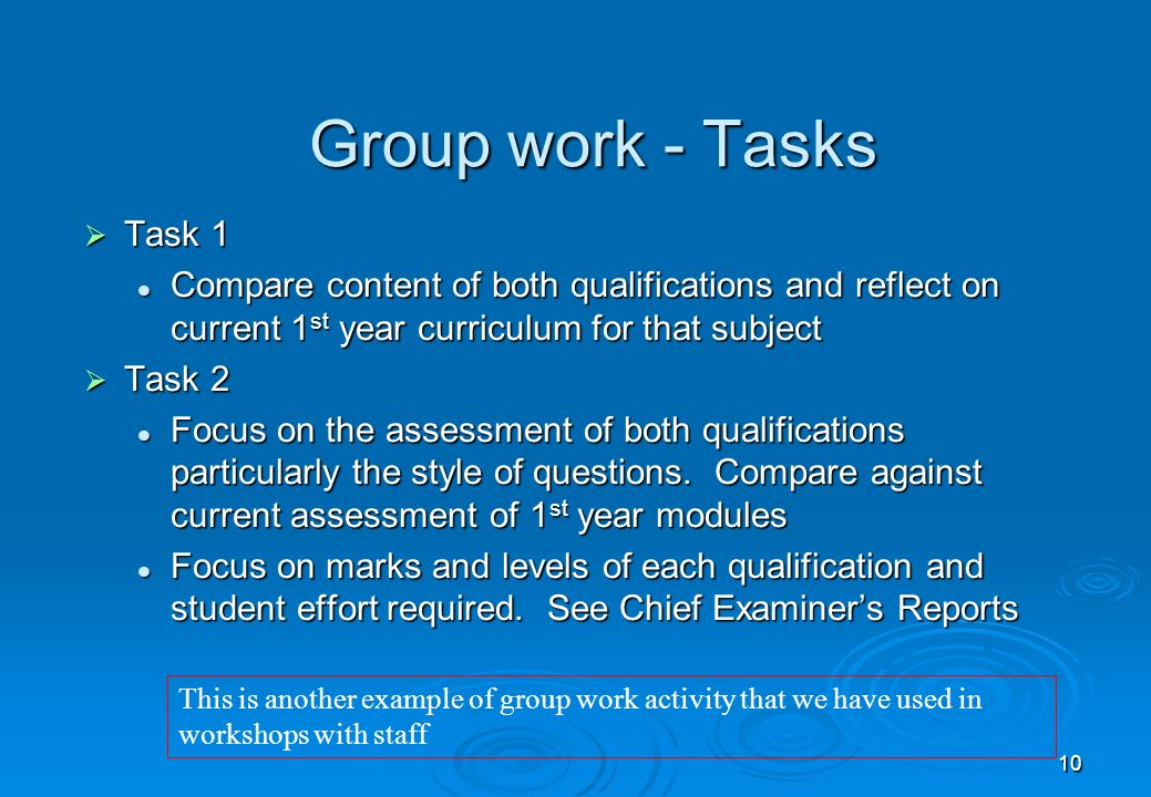 10 Group work - Tasks Task 1 Task 1 Compare content of both qualifications and reflect on current 1 st year curriculum for that subject Compare content of both qualifications and reflect on current 1 st year curriculum for that subject Task 2 Task 2 Focus on the assessment of both qualifications particularly the style of questions.