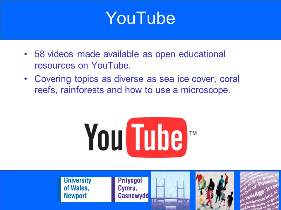 YouTube 58 videos made available as open educational resources on YouTube.