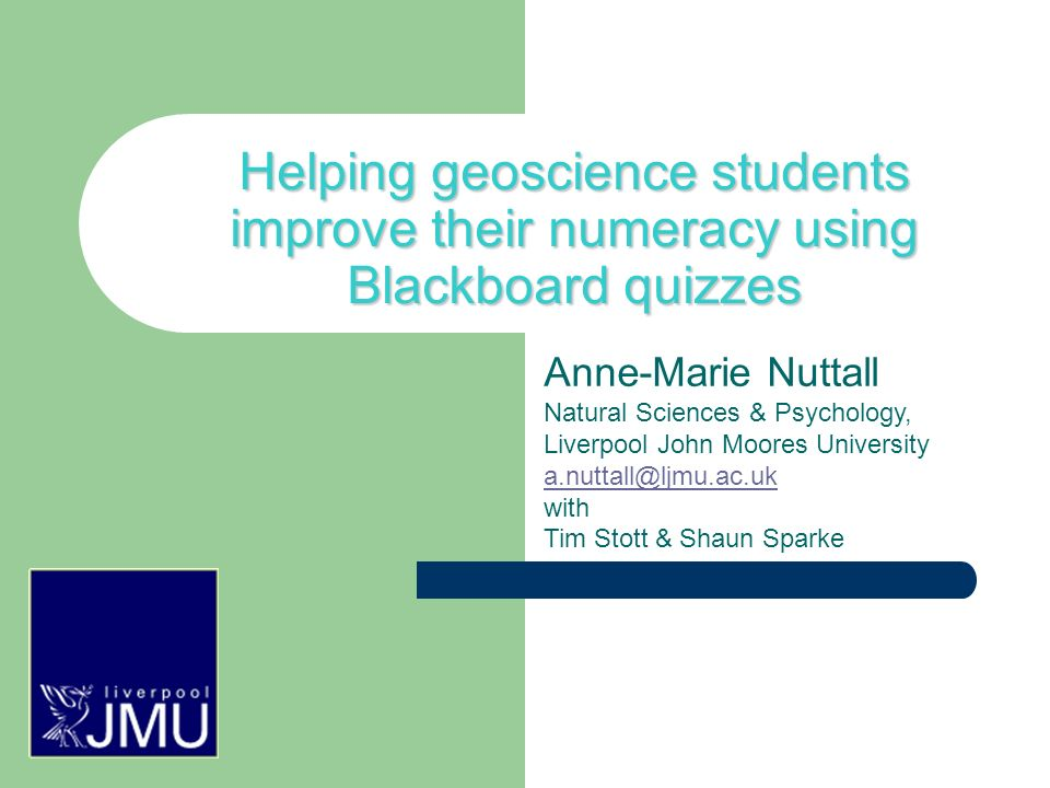 The importance of feedback: Face-to-face tuition is time consuming Quiz feedback is a great way to help students learn where they went wrong Detailed feedback for wrong answers showing the right answer and working out Can be specific to each wrong answer for MCQs We give feedback for correct answers too in case it was a lucky guess!