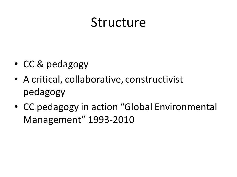 Structure CC & pedagogy A critical, collaborative, constructivist pedagogy CC pedagogy in action Global Environmental Management 1993-2010