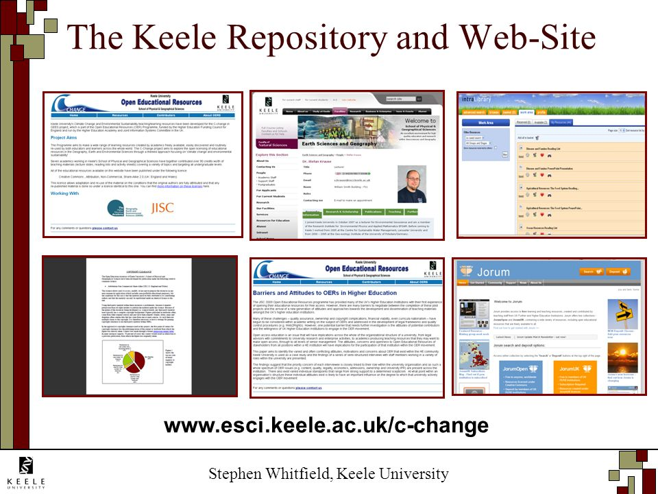 Stephen Whitfield, Keele University The Keele Repository and Web-Site www.esci.keele.ac.uk/c-change