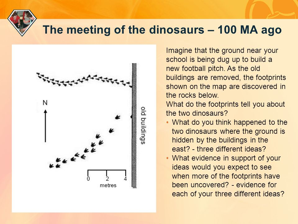 The meeting of the dinosaurs – 100 MA ago Imagine that the ground near your school is being dug up to build a new football pitch.