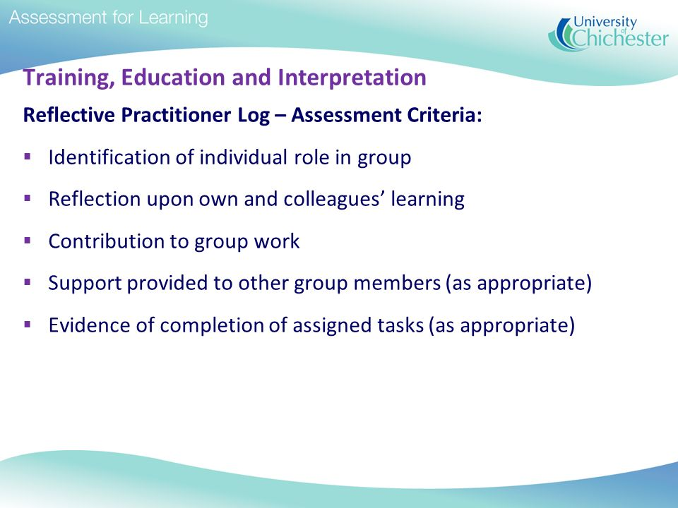 Training, Education and Interpretation Reflective Practitioner Log – Assessment Criteria: Identification of individual role in group Reflection upon o