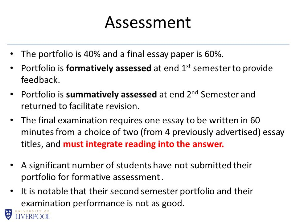 Assessment The portfolio is 40% and a final essay paper is 60%. Portfolio is formatively assessed at end 1 st semester to provide feedback. Portfolio