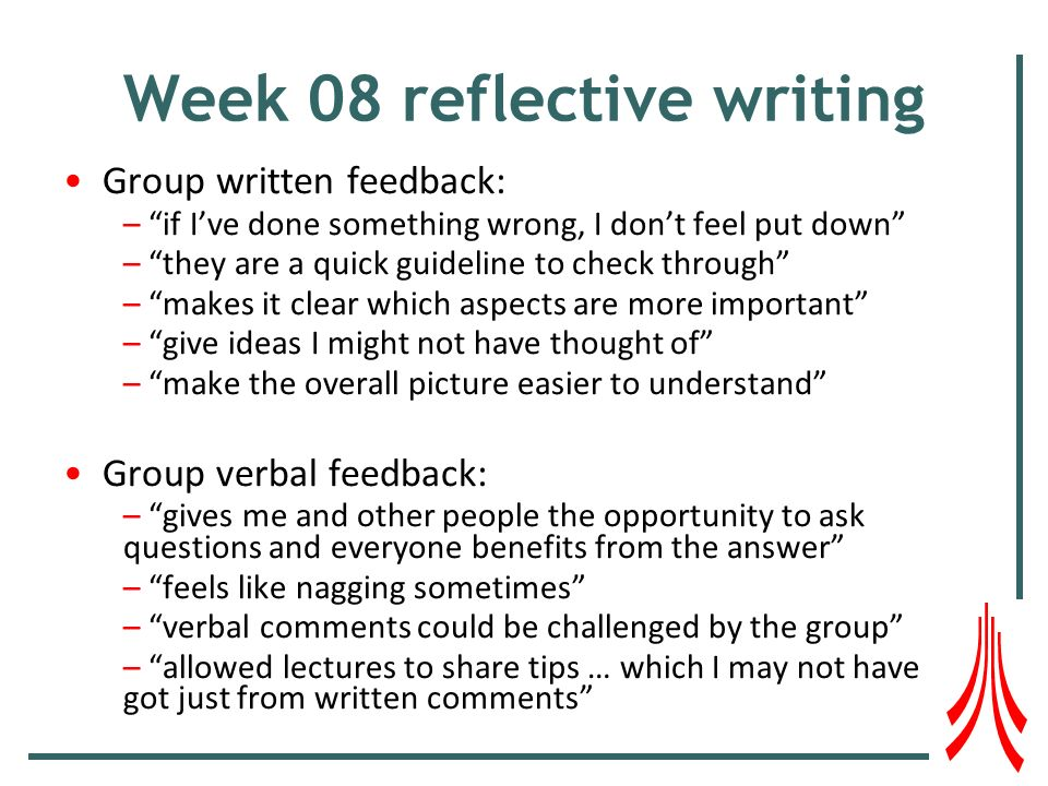 Week 08 reflective writing Group written feedback: – if Ive done something wrong, I dont feel put down – they are a quick guideline to check through – makes it clear which aspects are more important – give ideas I might not have thought of – make the overall picture easier to understand Group verbal feedback: – gives me and other people the opportunity to ask questions and everyone benefits from the answer – feels like nagging sometimes – verbal comments could be challenged by the group – allowed lectures to share tips … which I may not have got just from written comments