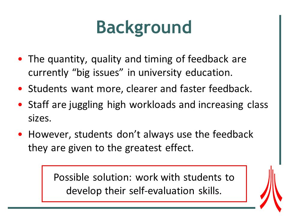 Background The quantity, quality and timing of feedback are currently big issues in university education.