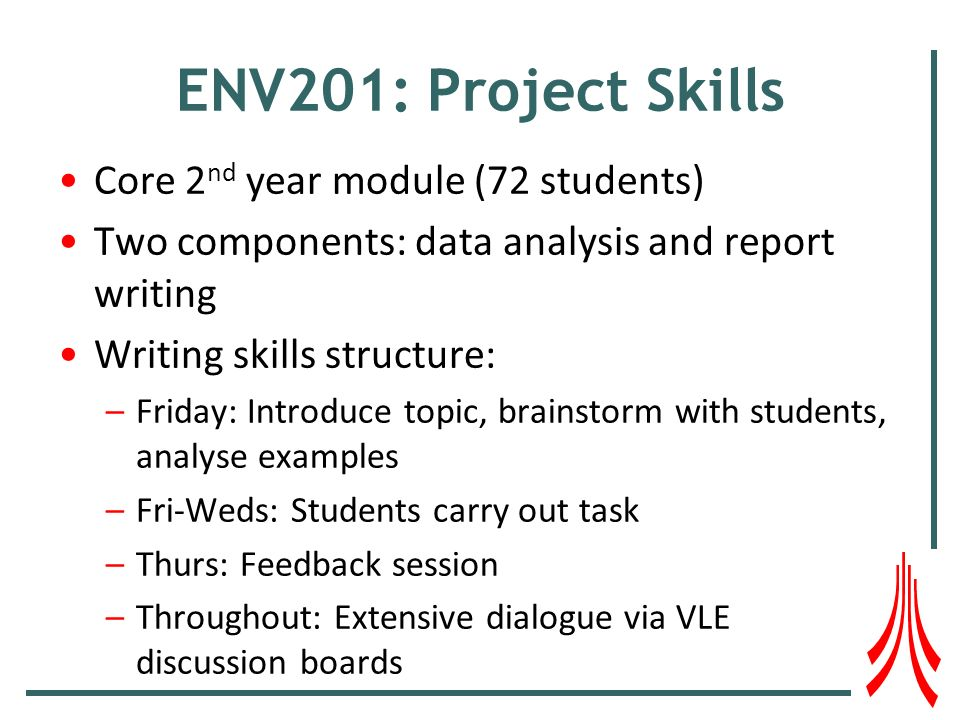 ENV201: Project Skills Core 2 nd year module (72 students) Two components: data analysis and report writing Writing skills structure: –Friday: Introduce topic, brainstorm with students, analyse examples –Fri-Weds: Students carry out task –Thurs: Feedback session –Throughout: Extensive dialogue via VLE discussion boards
