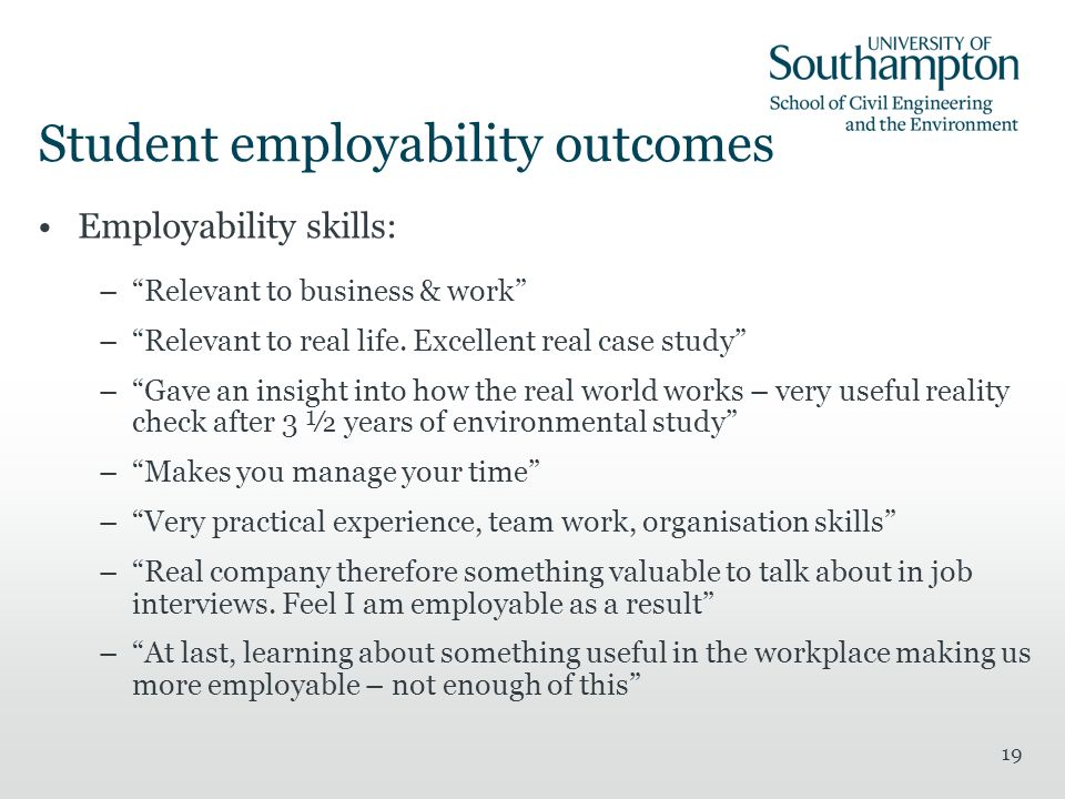 19 Student employability outcomes Employability skills: –Relevant to business & work –Relevant to real life.