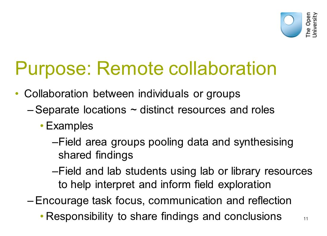 Purpose: Remote collaboration Collaboration between individuals or groups –Separate locations ~ distinct resources and roles Examples –Field area grou