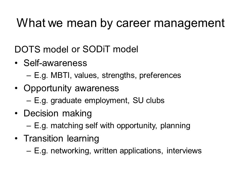 What we mean by career management DOTS model Self-awareness –E.g.