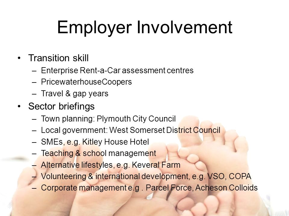 Employer Involvement Transition skill –Enterprise Rent-a-Car assessment centres –PricewaterhouseCoopers –Travel & gap years Sector briefings –Town planning: Plymouth City Council –Local government: West Somerset District Council –SMEs, e.g.