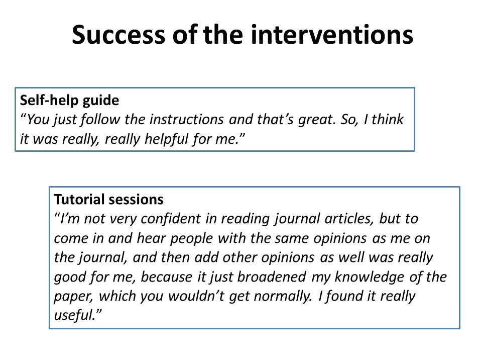 Success of the interventions Tutorial sessions Im not very confident in reading journal articles, but to come in and hear people with the same opinions as me on the journal, and then add other opinions as well was really good for me, because it just broadened my knowledge of the paper, which you wouldnt get normally.