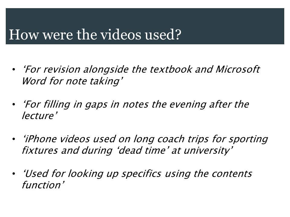 How were the videos used? For revision alongside the textbook and Microsoft Word for note taking For filling in gaps in notes the evening after the le