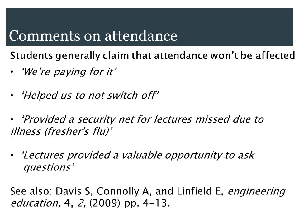 Comments on attendance Students generally claim that attendance wont be affected Were paying for it Helped us to not switch off Provided a security ne