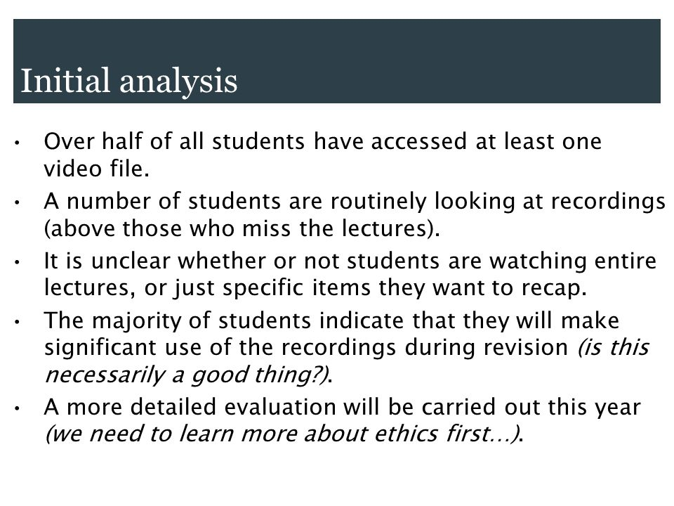Initial analysis Over half of all students have accessed at least one video file. A number of students are routinely looking at recordings (above thos