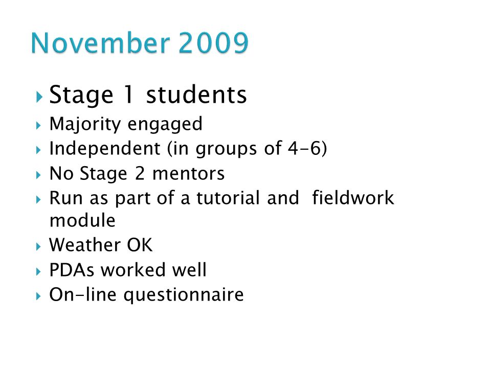 Stage 1 students Majority engaged Independent (in groups of 4-6) No Stage 2 mentors Run as part of a tutorial and fieldwork module Weather OK PDAs worked well On-line questionnaire