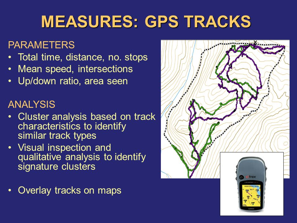 MEASURES: GPS TRACKS PARAMETERS Total time, distance, no.