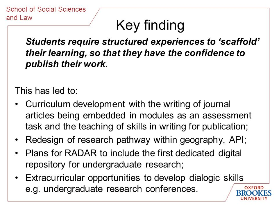School of Social Sciences and Law Key finding Students require structured experiences to scaffold their learning, so that they have the confidence to