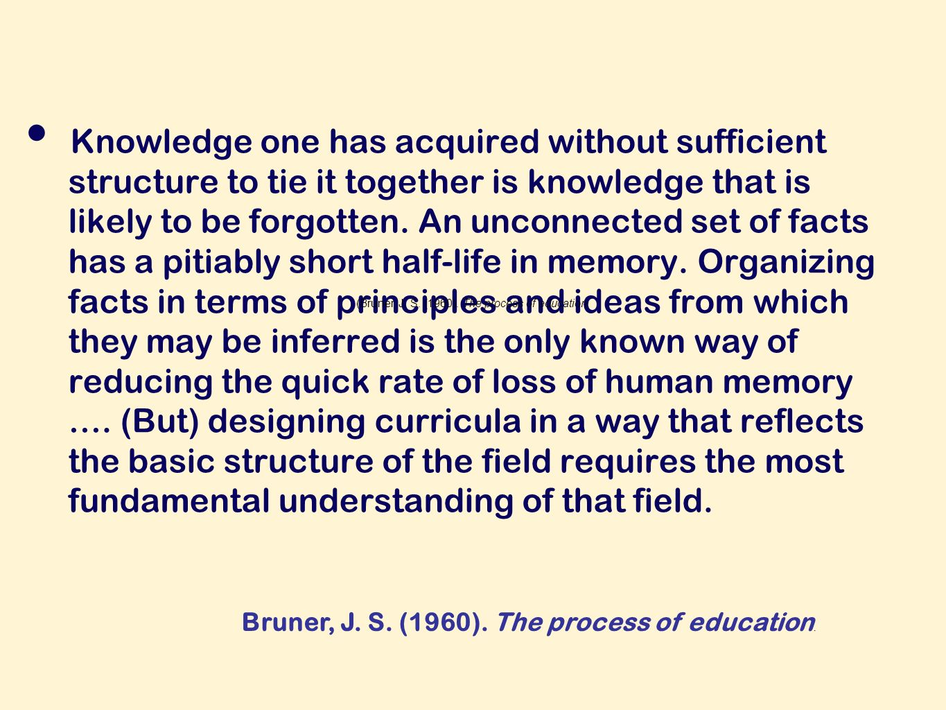 Knowledge one has acquired without sufficient structure to tie it together is knowledge that is likely to be forgotten.