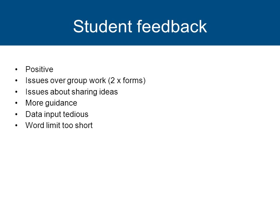 Student feedback Positive Issues over group work (2 x forms) Issues about sharing ideas More guidance Data input tedious Word limit too short