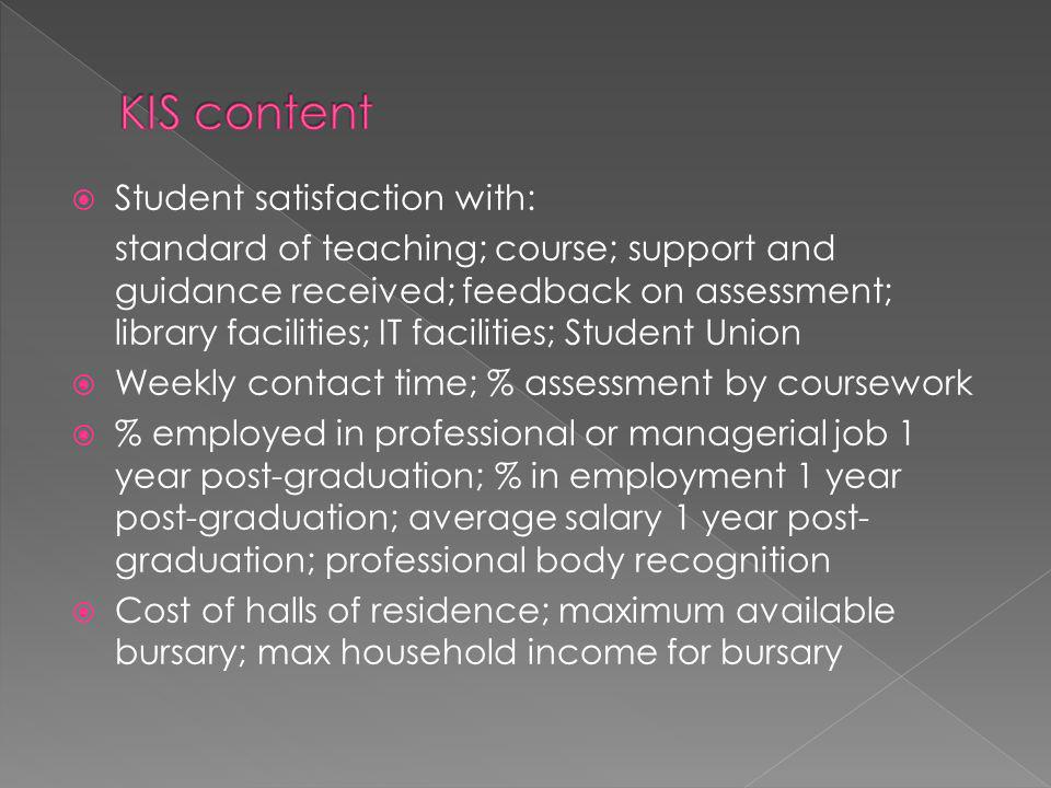 Student satisfaction with: standard of teaching; course; support and guidance received; feedback on assessment; library facilities; IT facilities; Student Union Weekly contact time; % assessment by coursework % employed in professional or managerial job 1 year post-graduation; % in employment 1 year post-graduation; average salary 1 year post- graduation; professional body recognition Cost of halls of residence; maximum available bursary; max household income for bursary