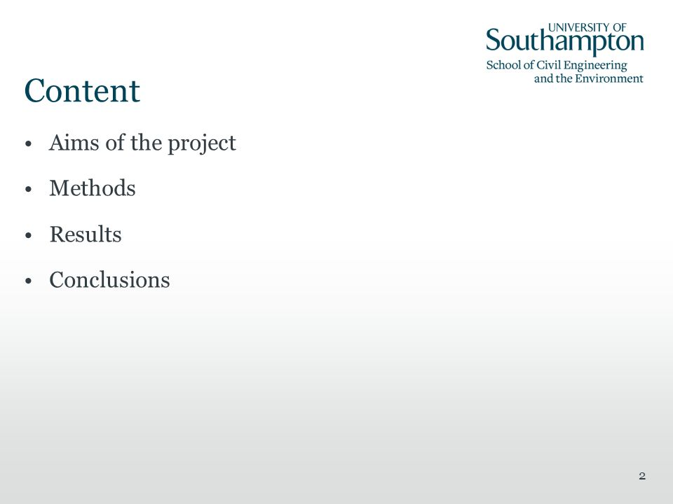 2 Content Aims of the project Methods Results Conclusions