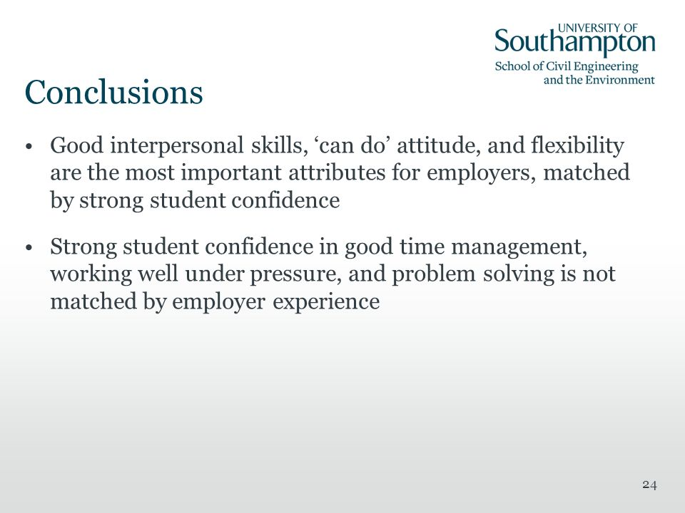 24 Conclusions Good interpersonal skills, can do attitude, and flexibility are the most important attributes for employers, matched by strong student confidence Strong student confidence in good time management, working well under pressure, and problem solving is not matched by employer experience