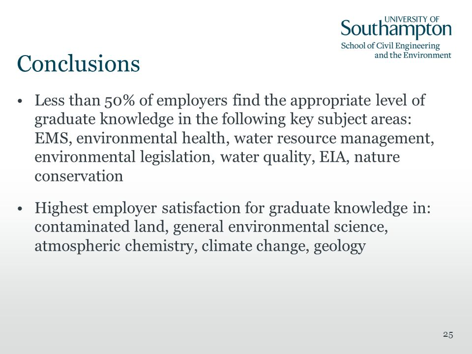 25 Conclusions Less than 50% of employers find the appropriate level of graduate knowledge in the following key subject areas: EMS, environmental health, water resource management, environmental legislation, water quality, EIA, nature conservation Highest employer satisfaction for graduate knowledge in: contaminated land, general environmental science, atmospheric chemistry, climate change, geology