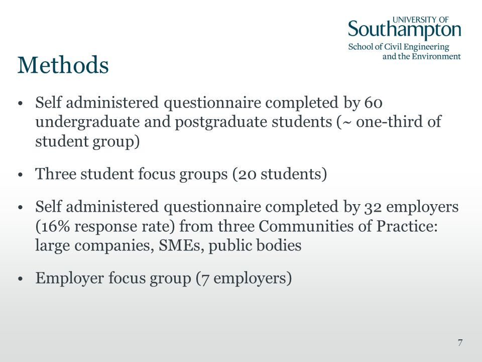 7 Self administered questionnaire completed by 60 undergraduate and postgraduate students (~ one-third of student group) Three student focus groups (20 students) Self administered questionnaire completed by 32 employers (16% response rate) from three Communities of Practice: large companies, SMEs, public bodies Employer focus group (7 employers)