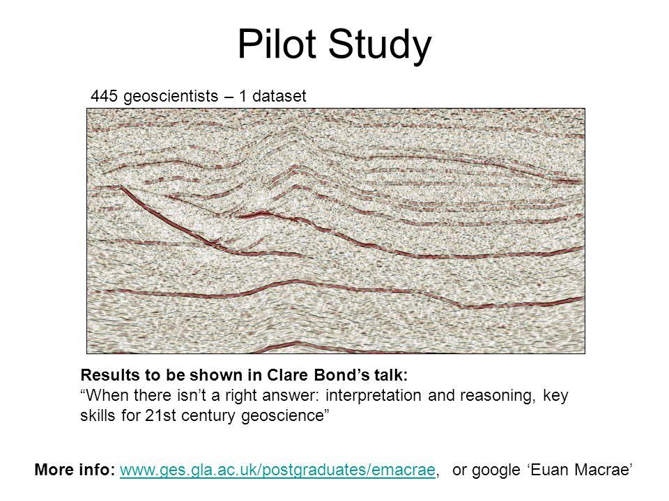 Pilot Study More info: www.ges.gla.ac.uk/postgraduates/emacrae, or google Euan Macraewww.ges.gla.ac.uk/postgraduates/emacrae 445 geoscientists – 1 dat