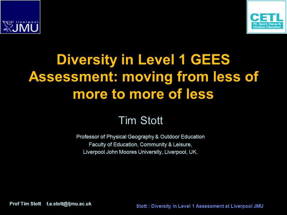 Prof Tim Stott t.a.stott@ljmu.ac.uk Stott : Diversity in Level 1 Assessment at Liverpool JMU Weighted or un-weighted assessment items ?
