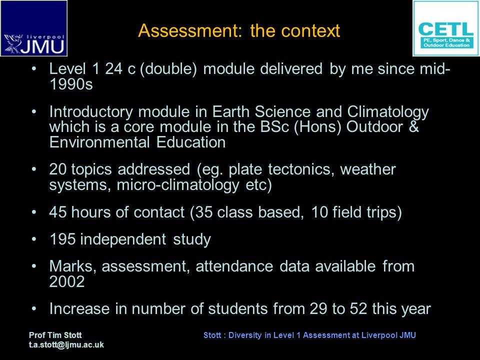 Prof Tim Stott t.a.stott@ljmu.ac.uk Stott : Diversity in Level 1 Assessment at Liverpool JMU Study Aims to assess the effect of increasing the assessment diversity on students performance.