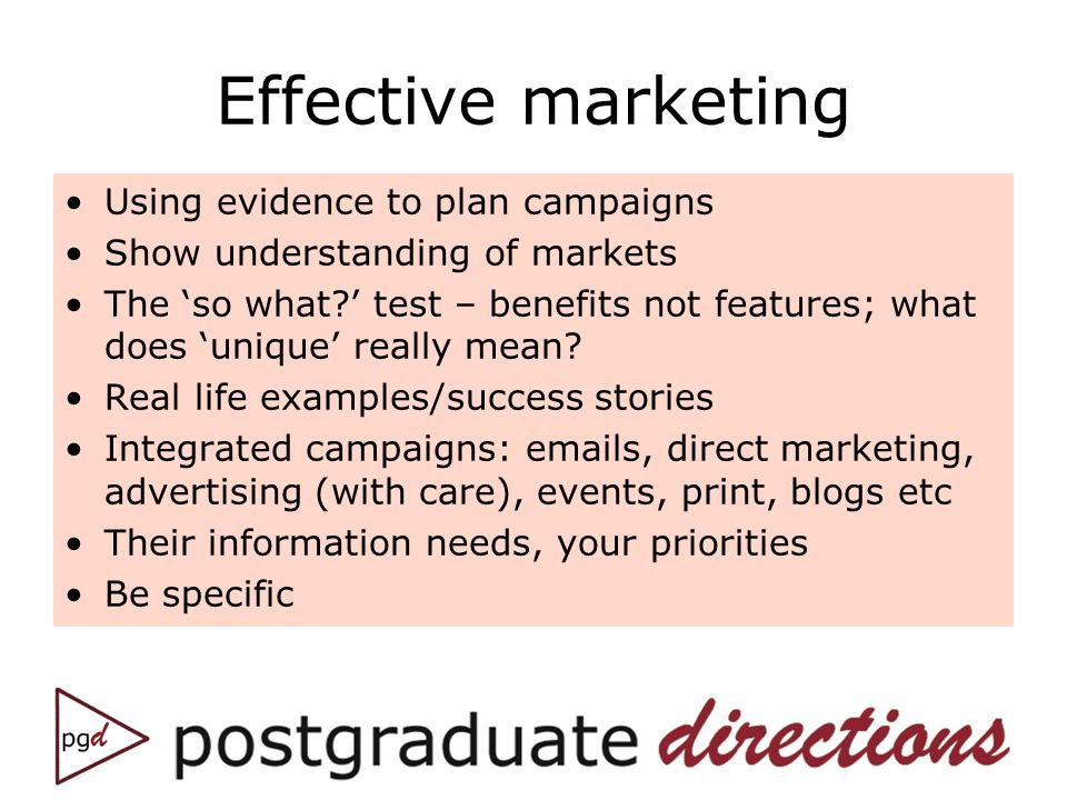 Effective marketing Using evidence to plan campaigns Show understanding of markets The so what.
