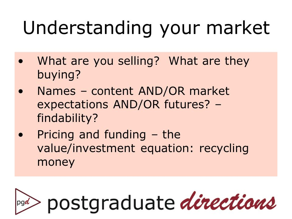 Understanding your market What are you selling. What are they buying.
