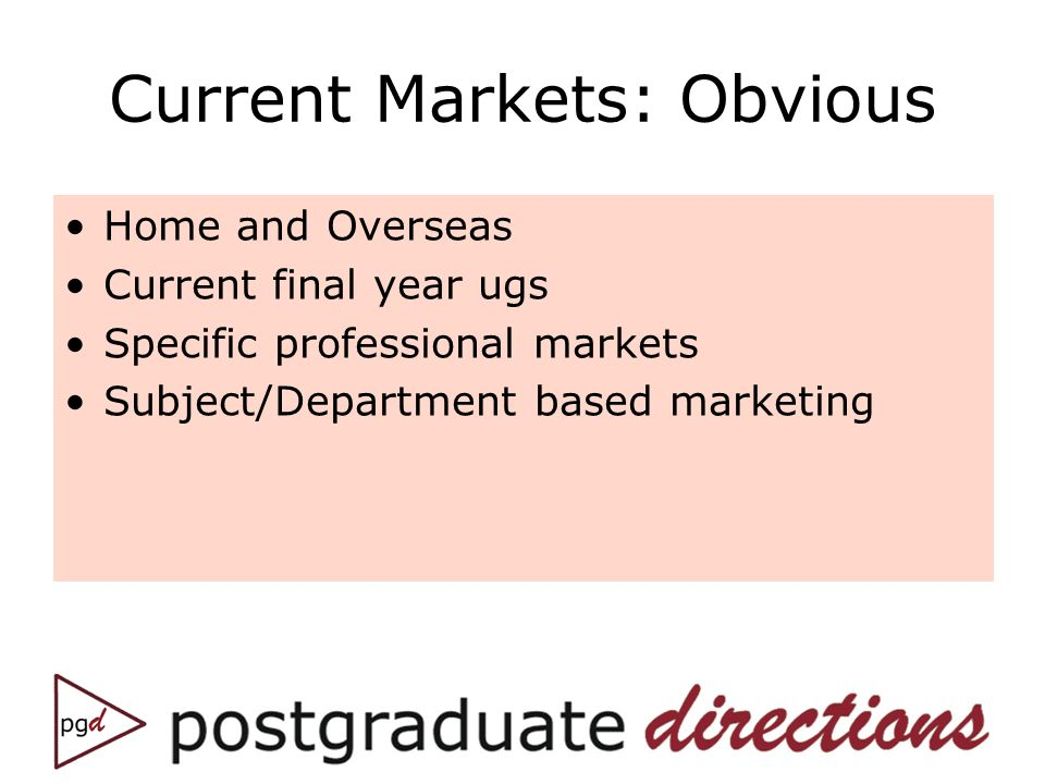Current Markets: Obvious Home and Overseas Current final year ugs Specific professional markets Subject/Department based marketing