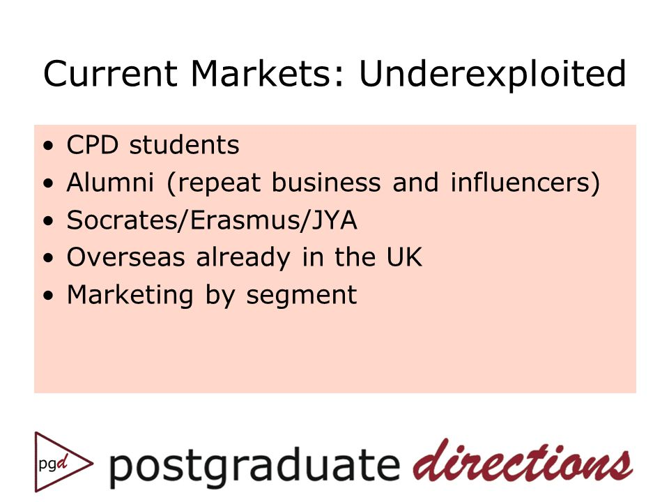 Current Markets: Underexploited CPD students Alumni (repeat business and influencers) Socrates/Erasmus/JYA Overseas already in the UK Marketing by segment