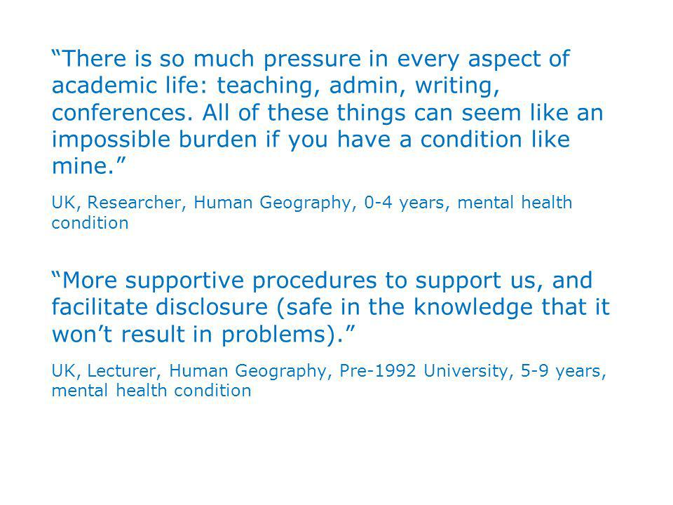 There is so much pressure in every aspect of academic life: teaching, admin, writing, conferences.