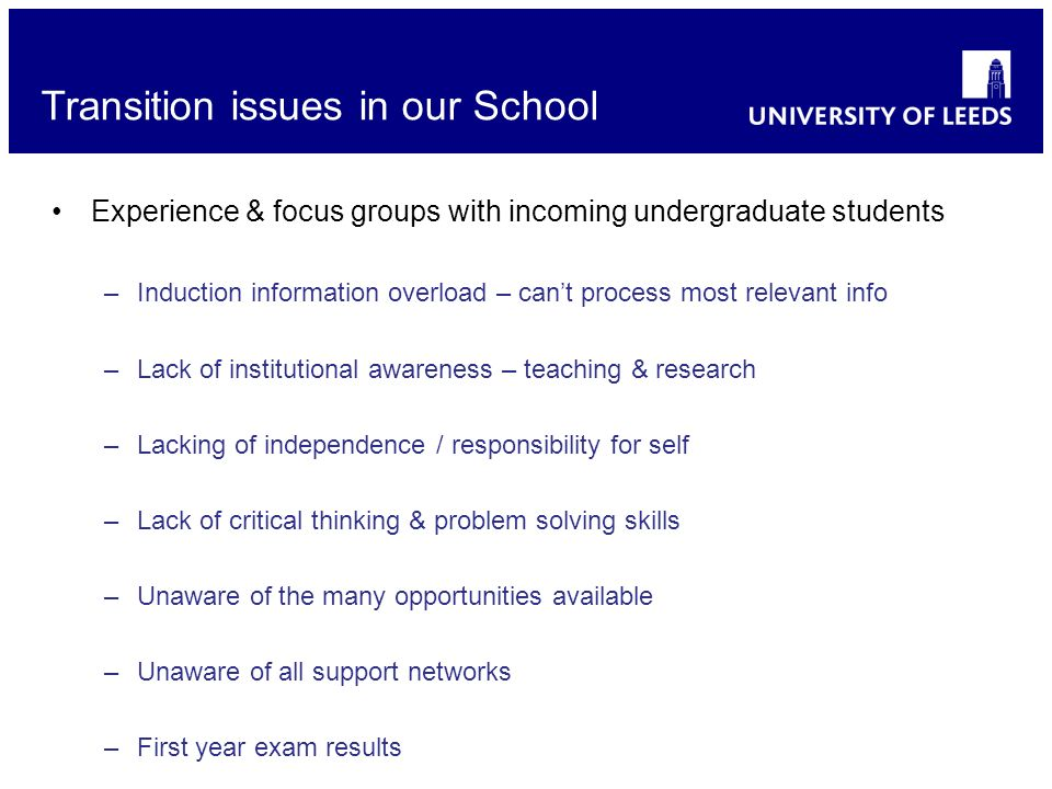 Experience & focus groups with incoming undergraduate students –Induction information overload – cant process most relevant info –Lack of institutiona