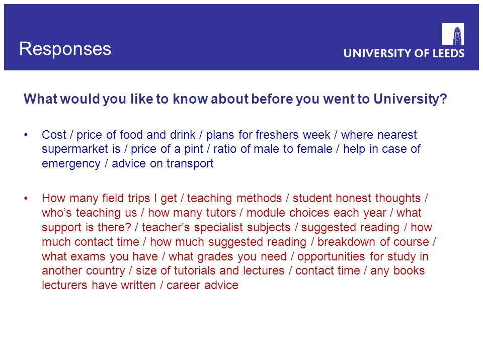 If there was a web-based resource to introduce you to your subject and the University before you arrived, what would you like to see on this.