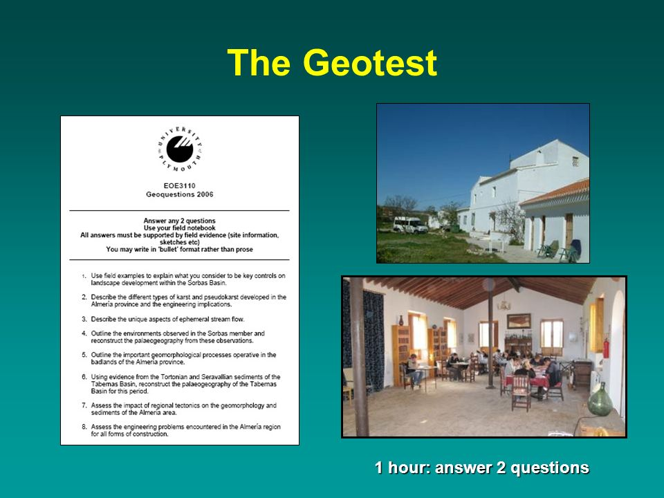 The Geotest 1 hour: answer 2 questions