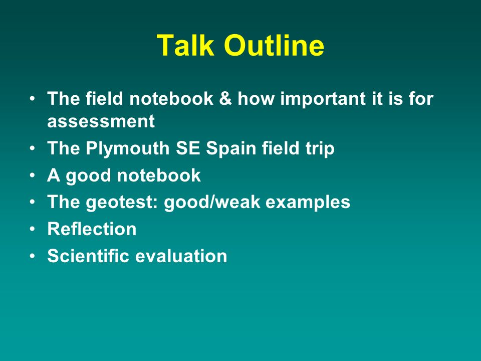 Field Notebooks A tool of the trade for recording field data.