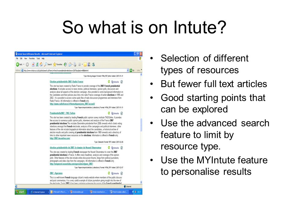 So what is on Intute.