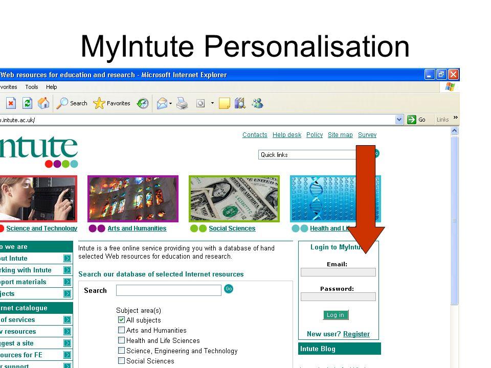 MyIntute Personalisation