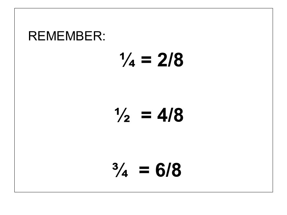 REMEMBER: ¼ = 2/8 ½ = 4/8 ¾ = 6/8