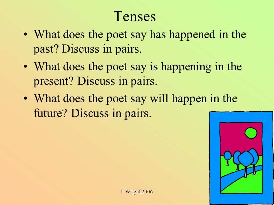 L Wright 2006 Tenses What does the poet say has happened in the past? Discuss in pairs. What does the poet say is happening in the present? Discuss in