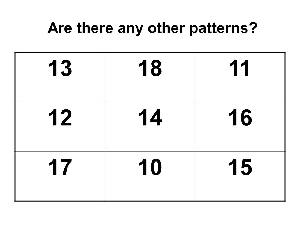 Are there any other patterns? 131811 121416 171015