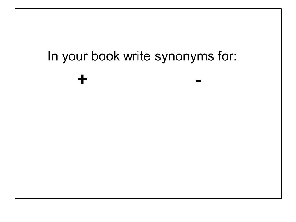 In your book write synonyms for: +-