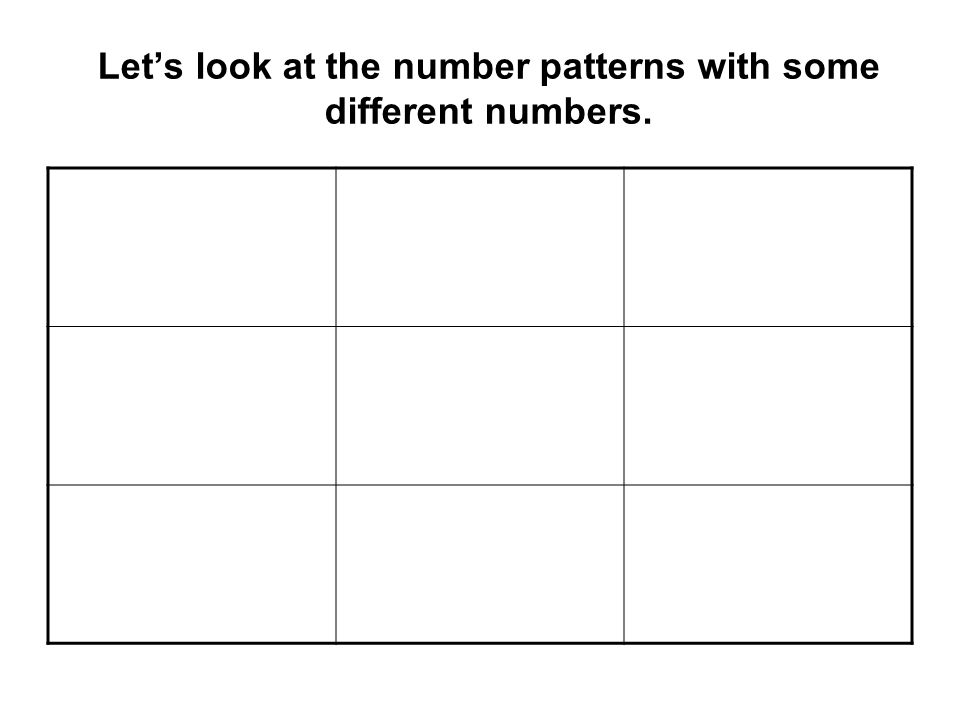 Lets look at the number patterns with some different numbers.