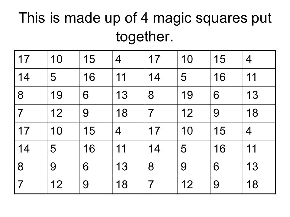 This is made up of 4 magic squares put together.